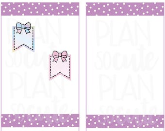 Doodle Mini flags with bow Stickers, Planner Stickers -087