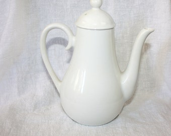 Vintage Small White Pottery Teapot
