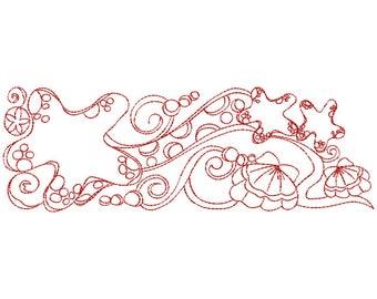 Starfish Border Redwork - Machine Embroidery Design