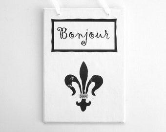 French Sign, Bonjour, Decoupage Original Artwork, Black and White, Fleur Dis Lis, Paris Apartment, Swarovski Crystals, Small Gift