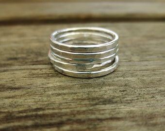 Hammered Stacking Rings, Set of Five rings, Sterling Silver, Handmade ring , hammered rings, minimalist ring, jewellery gift, simple rings