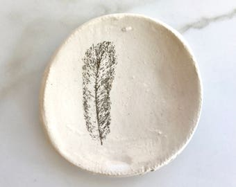 Ceramic Jewelry Dish // Gold Feather// Jewelry Holder