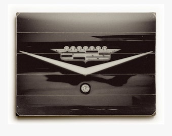 Wood Plank Sign: Black and White Cadillac Logo Wood Plank, Black and White Wood Plank Sign, Vintage Cadillac Crown Sign