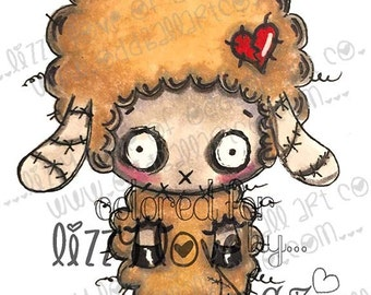 Digi Stamp Digital Instant Download Big Eye Zombie Sheep Image No. 34 by Lizzy Love