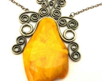 Amber Baltic Necklace Unique Antique Natural Genuine 52.55 Gr Yellow Egg Yolk Color Huge Rare XXL