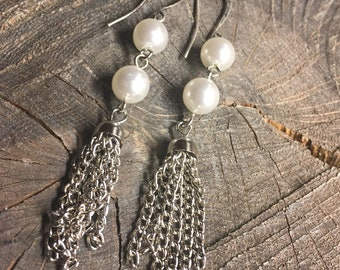 Earrings double white pearls with dangle chain earring