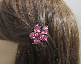 Crystal Flower Hair Accessory Jewelry Barrette Clip Antique Silver Tone Pink