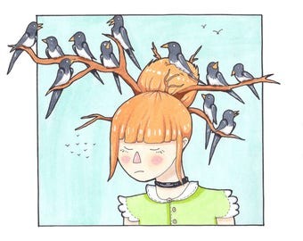 Girl Bird Art Print | Magpies | Branches | Sad | Fantasy | Surreal | Magical | Illustration | Picture |