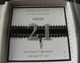 Handmade Personalised 21st OR 18th Birthday Card with Personalised Box