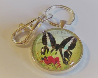 Butterfly Glass Photo Keychain, Butterfly Keychain, Butterfly Key Fob, Butterfly Key Chain, Glass Butterfly Charm, Christmas Gift for Her