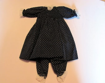 Navy Doll Dress with Bloomers / Handmade Doll Dress with Bloomers / Navy and White Polka Dot Doll Dress with Cute Bloomers