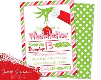 Grinch Party Invitation Christmas Holiday Baking Cooking