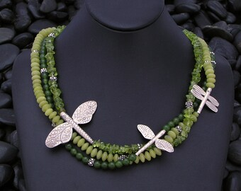 Triple Strand Dragonfly Necklace