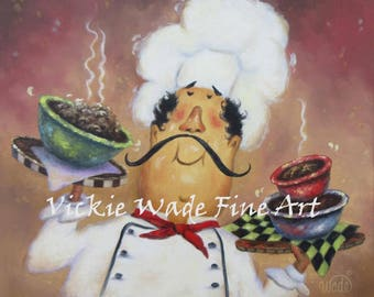 Chef ORIGINAL Painting, 16X16 fat chef painting, chef kitchen art, chef paintings, chefs, funny waiter, restaurant art, Vickie Wade Art