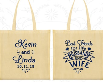 Best Friends for Life Husband and Wife Bags, Cheap Bags, Southern Wedding Bags, Hearts, Custom Tote (221)