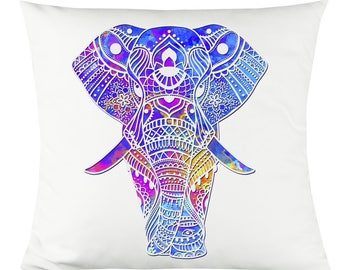 """Colorful Indian Elephant 14""""x14"""" Decorative Throw Pillow"""