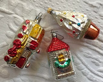 3 glass ornaments . ornament . glass ornament . train ornament . lot of 3  . tree ornament . house ornament