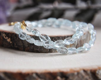 Aquamarine Necklace, Aquamarine Jewelry, Short Necklace, March Birthstone, Birthstone Necklace, Birthday Gift, Gifts for Her, Boho Necklace