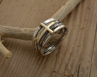 Mens Cross Ring, Sterling Silver & 14KT Gold Twig Ring, Gift of Faith for Him, 11mm width, Precious Christian Jewelry, DA253