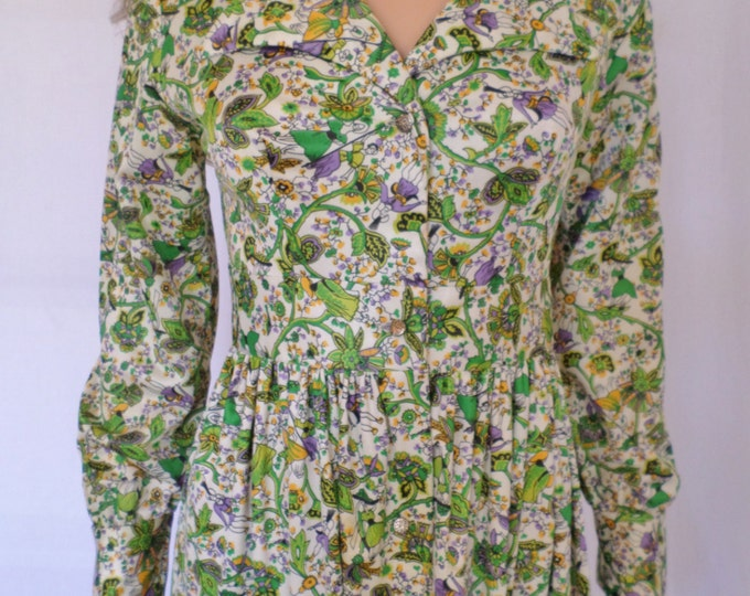Sale - Vintage 1960's Women's FoLkLoRe ScEniC Edwardian Maxi HiPPiE BoHo Dress Size S