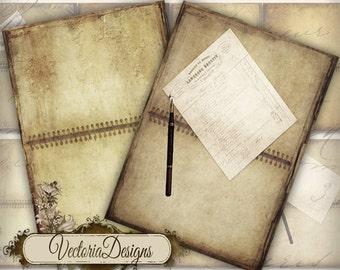 Little Notebook ATC vintage images digital background instant download printable collage sheet VD0143