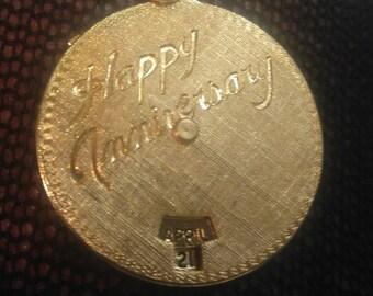 Vintage Happy Anniversary Dial Pendant Brushed Goldtone 1960