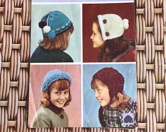 Vintage Knitting Pattern - Childrens Hats