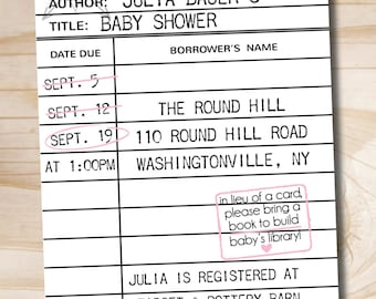Build A Library, Library Card Baby Shower Invitation - Printable Digital file or Printed Invitations