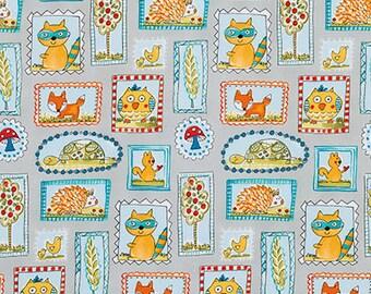 Dena Designs FoX PLAYGROUND Animals in Frames on Grey Kids Cotton Fabric for Free Spirit