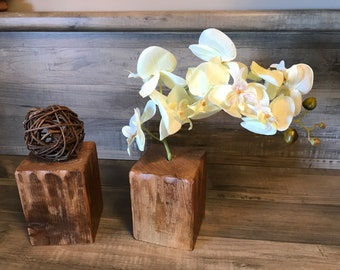 Rustic yet modern two piece set , floral orchid wood   Centerpiece
