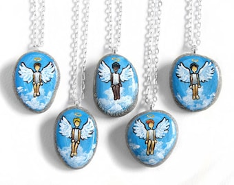 Custom Necklace, Guardian Angel Jewelry, Short Hair, Hand Painted Rock, Beach Stone Pendant, Loss of Child, Memorial Art, Portrait Painting