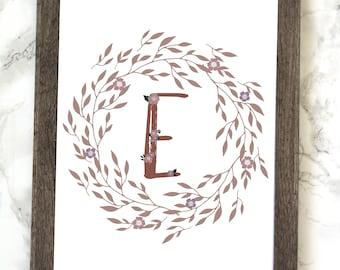 Monogram Letter E Printable, Floral Monogram Letter E Printable, Letter E Wall Art, Letter E Printable, Monogram Printable, Initial Print