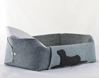 Felt Dog Bed, Felt Dog House, Medium Dog Bed, Dog Lover Gift, Room Decor, Gray, Charcoal, Anthracite, Dog Bed, cosy dog bed, gift for dog