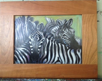 Zebras , oil painting on wood board with a frame
