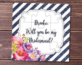 Will you Be my bridesmaid, Bridesmaid proposal, bridesmaid gift, Bridal party, Maid of Honor, bridesmaid card, puzzle, jigsaw, flower girl