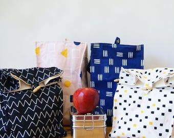 Eco Lunch Bag - washable organic cotton and hemp organic cotton womens lunch bag, picnic bag, kids lunch bag