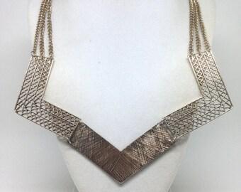 Vintage Estate Triple Strand V Shape Gold Tone Necklace
