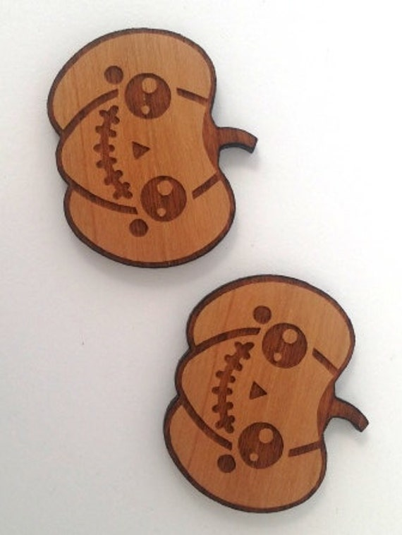 Laser Cut Supplies- 1 Piece.Kawaii Pumpkin Frankenstein Charms - Cherry Wood-Laser Cut- Little Laser Lab Sustainable Wood Products