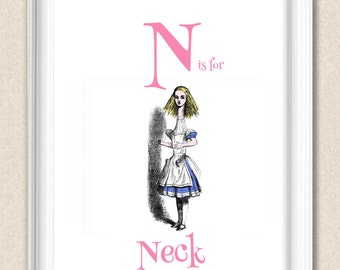 Alice in Wonderland Alphabet Art Nursery Print N is for Neck A095