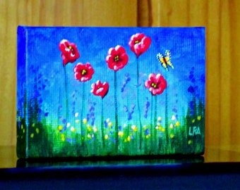 Mini Painting Red Flowers 3x2 inch 1/12 scale Creationarts
