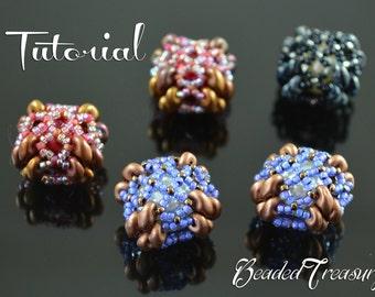 "Beaded bead tutorial, superduo pattern, beaded bead pattern,  seed beads pattern. ""Beaded Square Bead"". TUTORIAL ONLY"