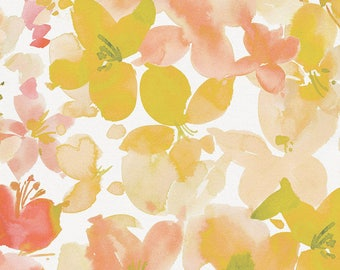 Peach and Sage Floral Organic Fabric - By The Yard - Girl / Modern / Fabric