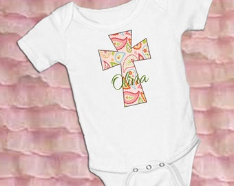Pink Paisley Cross Personalized White onsie Snap bottom all in one bodysuit