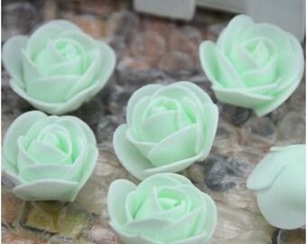 100 Pcs Mini Artificial Rose Heads - Mint Green