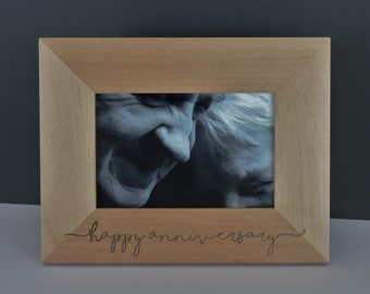Anniversary Photo Frame, Wood Engraved with your message included, by Forever Me Gifts