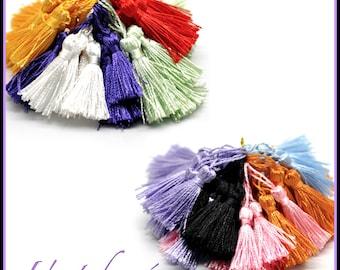 Set of 10 pom poms tassel pendant, imitation silk, multicolor