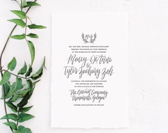Calligraphy Wedding Invitation Suite, Digital Print, Envelope Liner