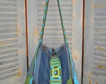 Denim Bag with Crochet and Tassels, Bohemian Gypsy, Hippie Bag