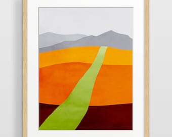Landscape Art Print, Abstract Landscape Print, Mid Century Modern, Modern Abstract Art, Landscape Wall Art, Orange Art