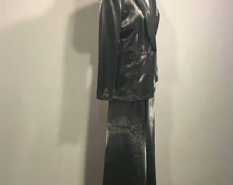 Cachet Metallic Pantsuit, 80s Silver Metallic Pantsuit,Vintage Cachet Paintsuite, Tuxedo Style Pantsuit